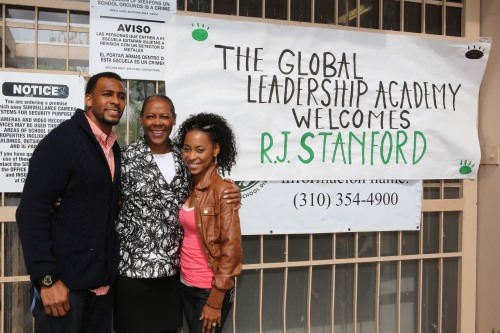 The Stanford family receives a warm welcome by ITEP students in Gardena's Global Leadership Academy (GGLA). (Photo credit: UPS)