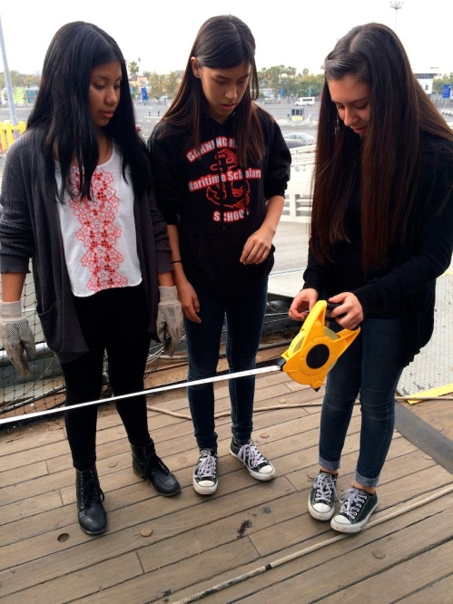 During their second field trip to the USS Iowa, ITEP students learned how to calculate two of the most important nautical measurements: ocean turbidity and depth.