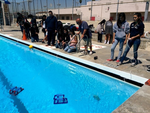ITEP students test their underwater robots at Banning High School.